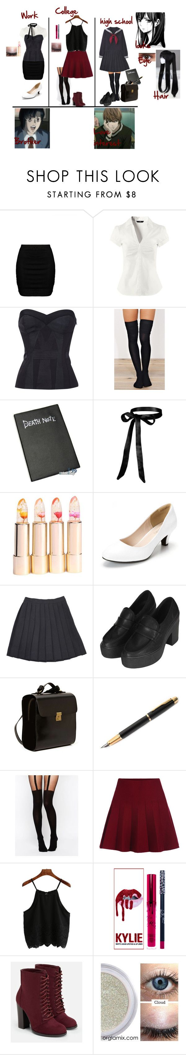 """""""Death Note (Remake)"""" by bec1995 ❤ liked on Polyvore featuring Zizzi, H&M, Ÿù, Topshop, Kelsi Dagger Brooklyn, Fountain, Matsuda, ASOS and JustFab"""