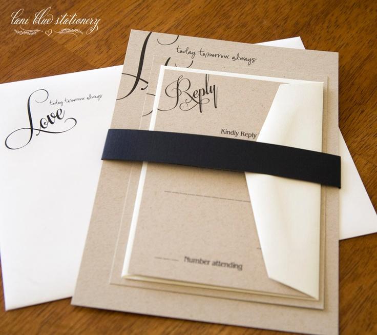 tie the knot wedding invitations etsy%0A DIY  LOVE on Kraft Paper Invitation    sets           via Etsy
