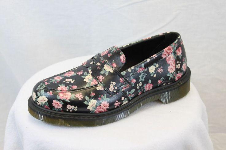 Dr. Doc Martens Floral Flowered Addy Penny Loafers Black ...