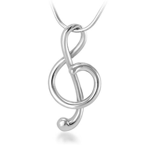 925 Sterling Silver Treble G Clef Music Note Pendant with Necklace Chain 18'' Fashion Jewelry for Women, Teen - Nickel Free: Chu...