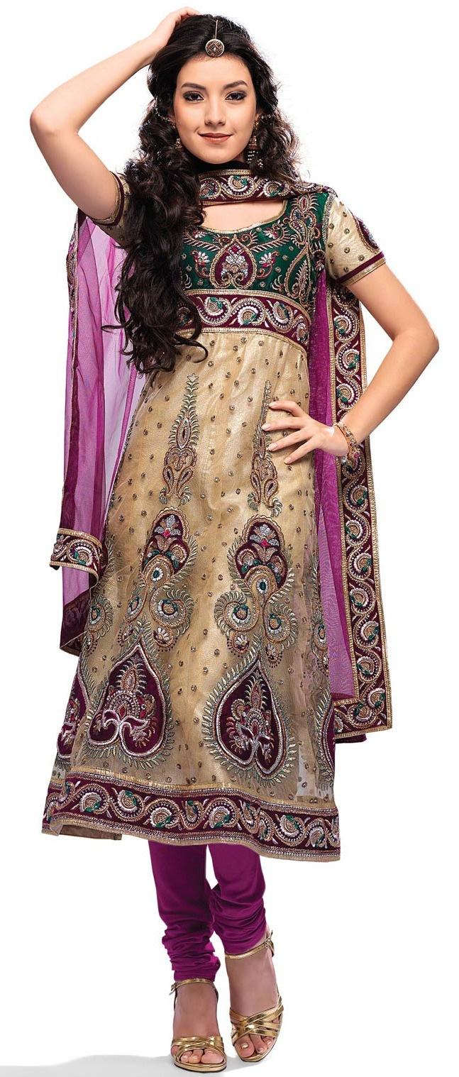 Light Fawn Net #Anarkali Churidar #Kameez With #Dupatta @ $96.15 | Shop @ http://www.utsavfashion.com/store/sarees-large.aspx?icode=ksa10