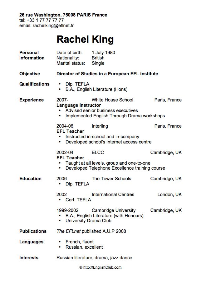 CV/resume   Director Of Studies  Resume Examples For Student
