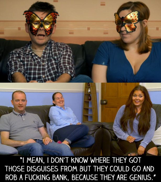 "When there was a doc about webcam sex couples and the people on the show used disguises like this. | 15 Times Scarlett Moffatt From ""Gogglebox"" Nailed It"