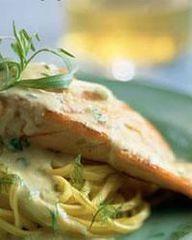 Venkel | recept: Zalm met gestoofde venkel en pasta