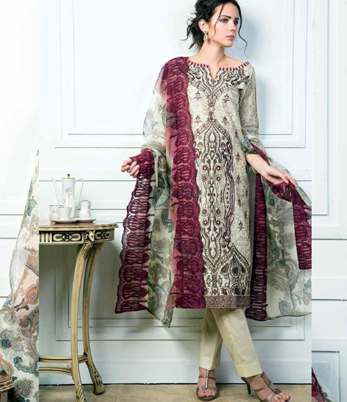 Gul Ahmed Embroidered Chantilly Chiffon Collection Vol-1 CT-48