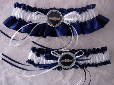 Classic Navy Blue And White Chevy Garter Set With Bowtie Charm