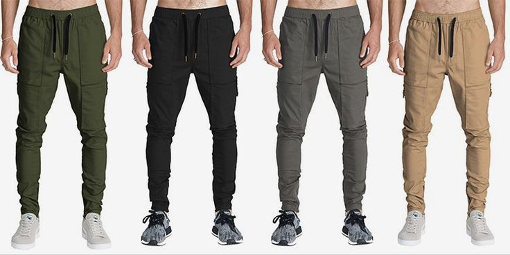 ITALY MORN Casual Cargo Jogger Pants Tapered Opening Slim Fit Fashion Street Style