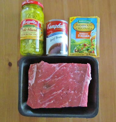 Crockpot Italian Beef -2 pkts italian dressing mix -1-2 cans beef broth. (I omitted the peppers and braised instead of crockpot...it was awesome!)