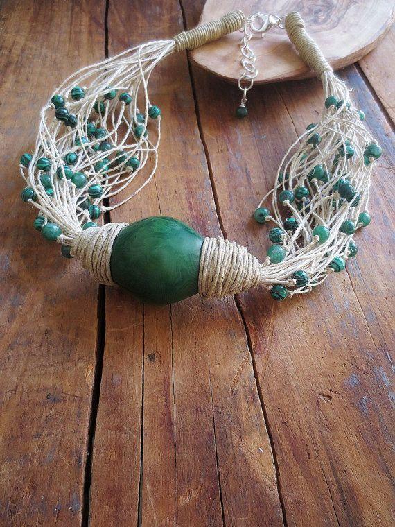 Statement Necklace Tagua Nut Necklace Linen Neklace by ReTeTeer