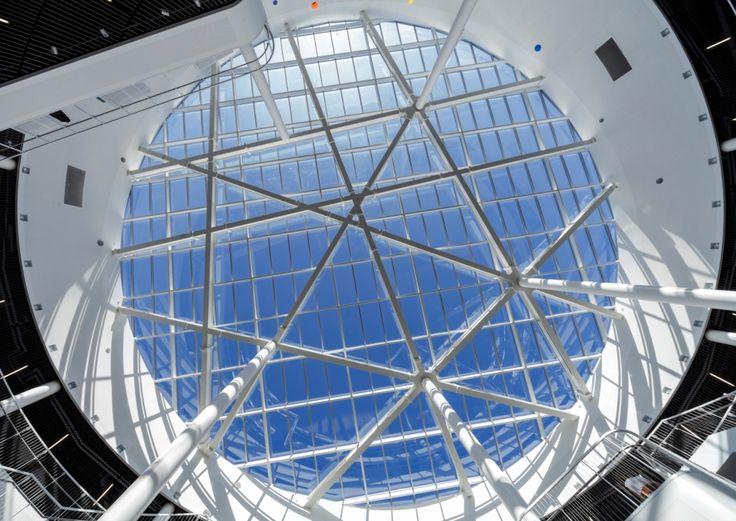 Cirucular glass roof of Reykjavik University, Iceland by Henning Larsen Architects. Photo by  Bragi Þór Jósefsson