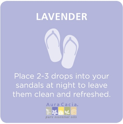 Place a few drops of Lavender Love's Lavender oil in your sandals and you will wake up to clean and refreshed sandals!    Get your oils at:  Lavender-Love.com/ashleymitchell