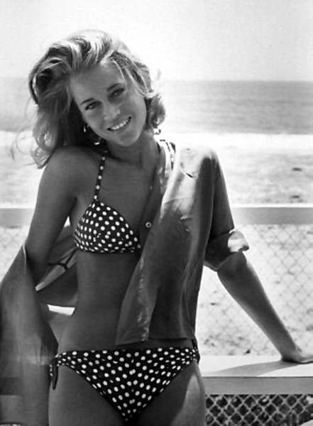 Jane Fonda in a polka dot bikini and button down shirt