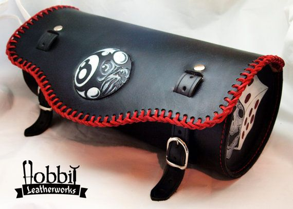 Custom leather motorcycle tool bag / Black by HobbitLeatherworks