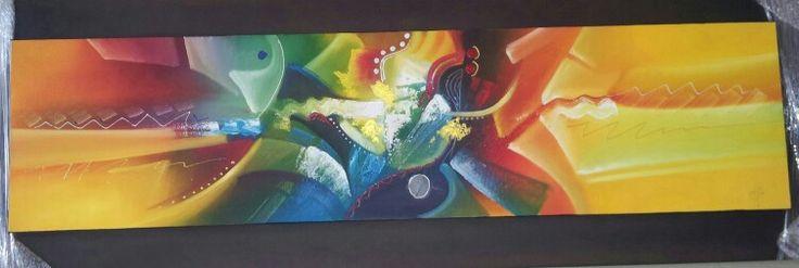 Habitación,  obra del maestro Arlex Arango. Abstracción indigenista.
