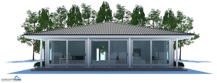 Two Bedroom Small House Plan with open planning, covered terrace, big bathroom, WIC in both bedrooms.