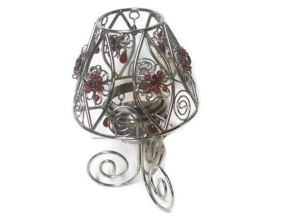Silver Beaded Tea Light Candle Holder Lamp