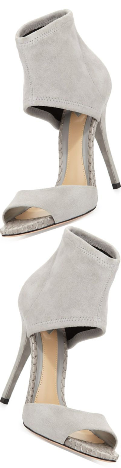 B Brian Atwood Correns Suede Ankle-Band Sandal, Gray