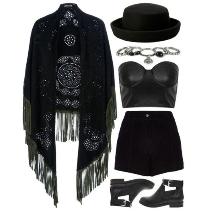 """""""Bohemian goth"""" -No hat -Different jewelry and shoes"""