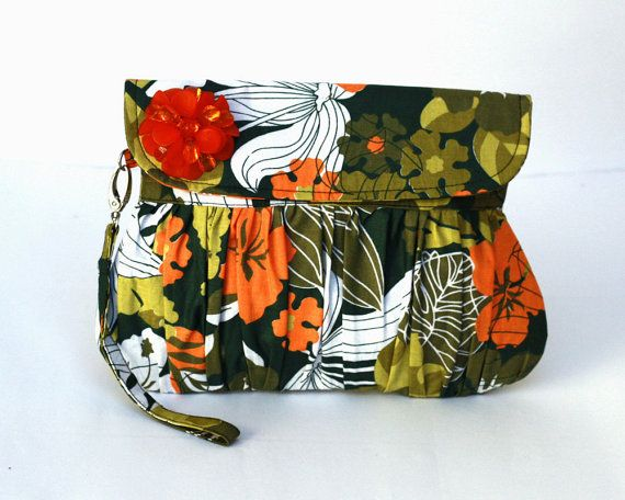 Pleated Clutch Purse Green Forrest with Orange Beads Flower