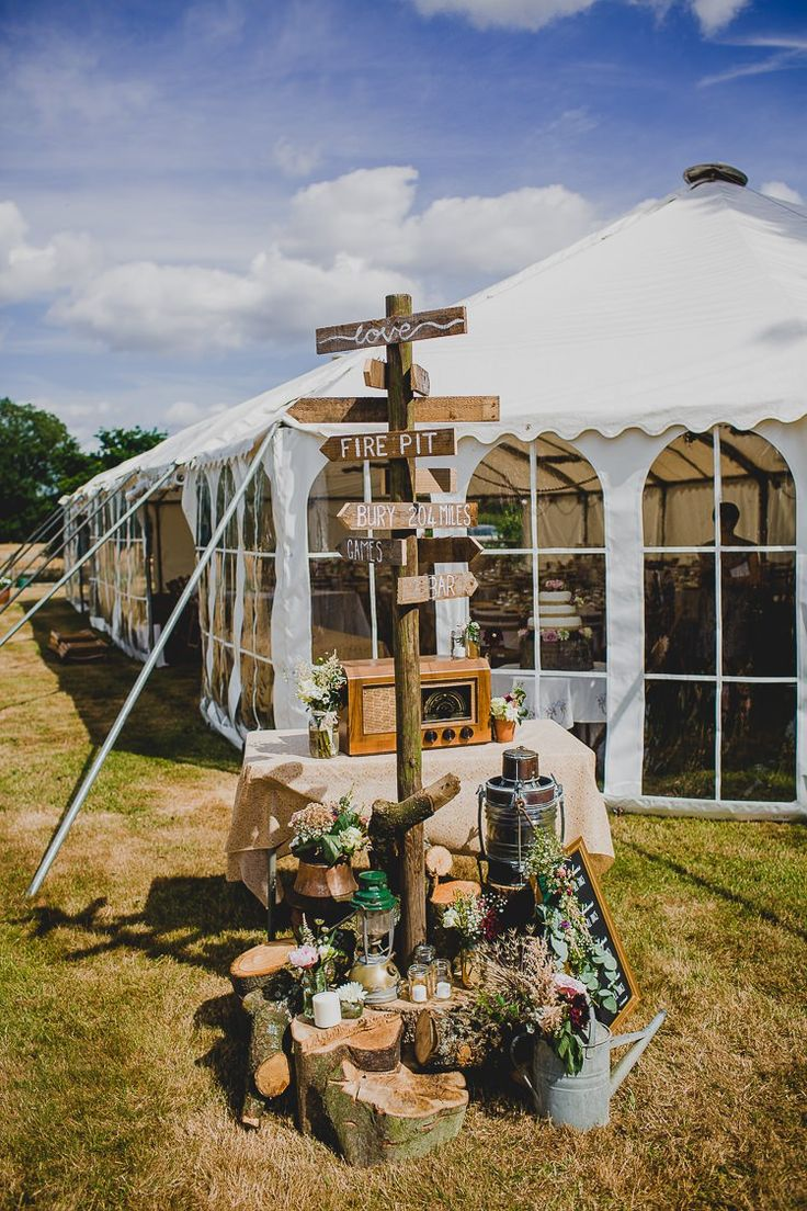 marquee reception decoration and signpost