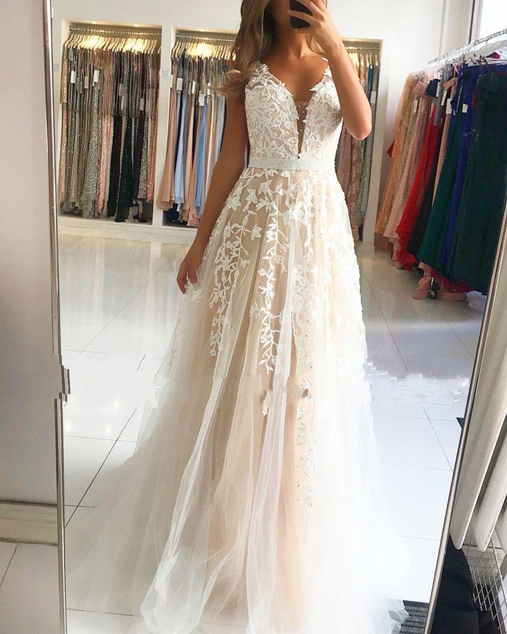 elegante abendkleider spitze lang | weißes abendkleid
