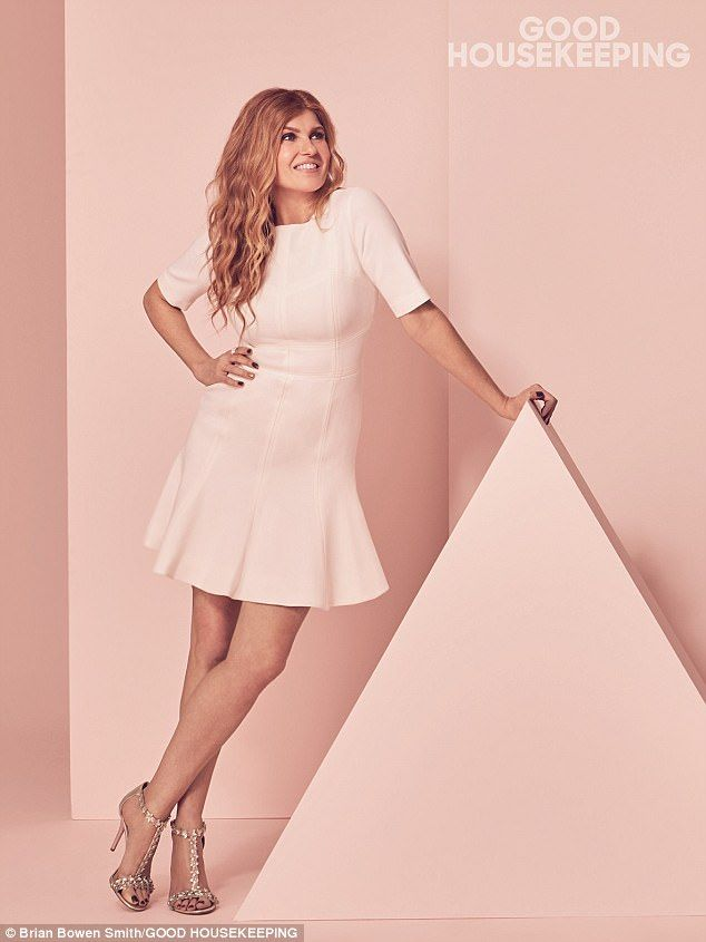 Pretty in pink: Connie Britton, 50, looked fantastic as she posed for Good Housekeeping's May issue