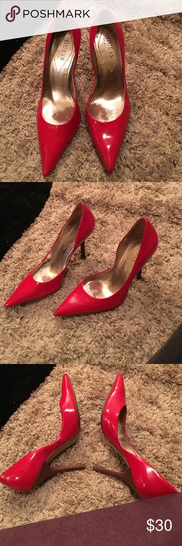 RED PATENT LEATHER PUMPS guess patent leather red pumps pretty much brand new Guess by Marciano Shoes