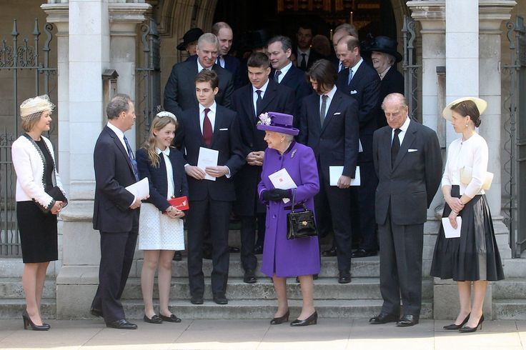 westminster-abbey:  Service of Thanksgiving for the 1st Earl of Snowdon, St Margaret's Church, April 7, 2017-Countess and 2nd Earl of Snowdon, Lady Margarita Armstrong-Jones, Charles, Viscount Linley, Queen Elizabeth, Duke of Edinburgh and Lady Sarah Chatto; steps-Arthur and Samuel Chatto; back-Dukeof York, Duke of Cambridge, Earl of Wessex