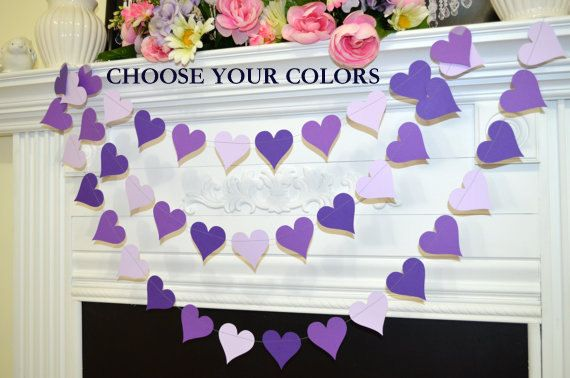 Purple heart Garland, Heart Garland, Wedding Decorations violet hearts birthday party decor, bridal shower decor, party garlands, photo prop door DCBannerDesigns op Etsy https://www.etsy.com/nl/listing/176236353/purple-heart-garland-heart-garland