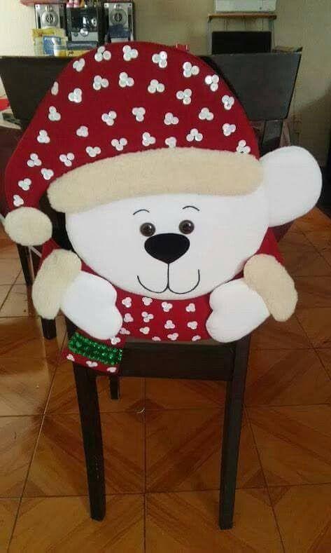 Funda para silla de osito para decorar en Navidad - Dale Detalles
