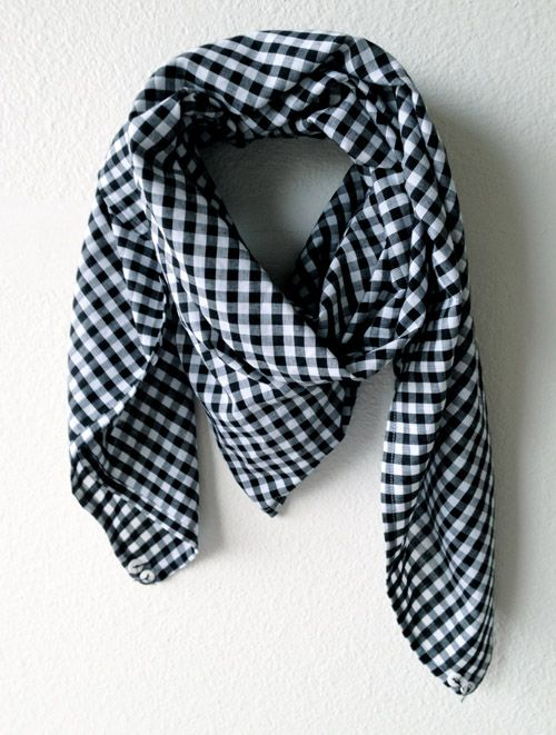 Gingham Scarf with ceramic button details in the corners. By Fulton & Co.
