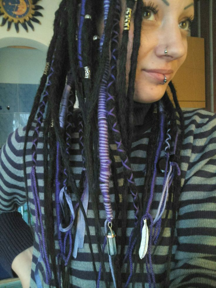 My dreadlocks :)  #me #dreadlocks #dreadhead #dreadgirl #dreadbeads #beads #piercing #purple #purpledreads #lilac #lila #hair #myhair #mydreads #love