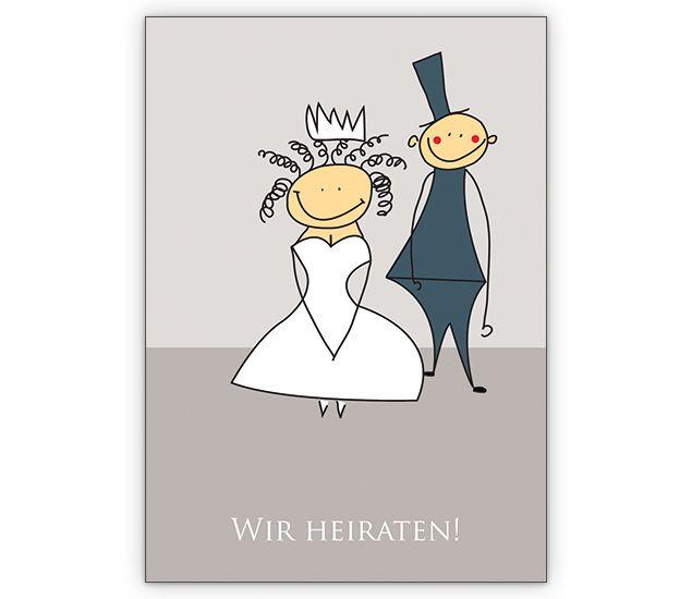 Süßes Brautpaar auf Hochzeitsanzeige: Wir heiraten! - http://www.1agrusskarten.de/shop/suses-brautpaar-auf-hochzeitsanzeige-wir-heiraten/    00012_0_2803, Anzeige, Brautpaar, Ehe, Grusskarte, Helga Bühler, Hochzeit, Klappkarte, Liebe, Romantik, Verlobung00012_0_2803, Anzeige, Brautpaar, Ehe, Grusskarte, Helga Bühler, Hochzeit, Klappkarte, Liebe, Romantik, Verlobung