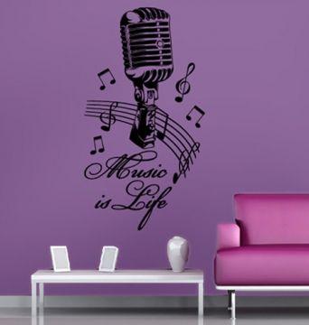 topdesignshop Wandtattoo Aufkleber und Gravuren Shop - Wandtattoo Musik Design Music is Life - Wohnzimmer Dekoration