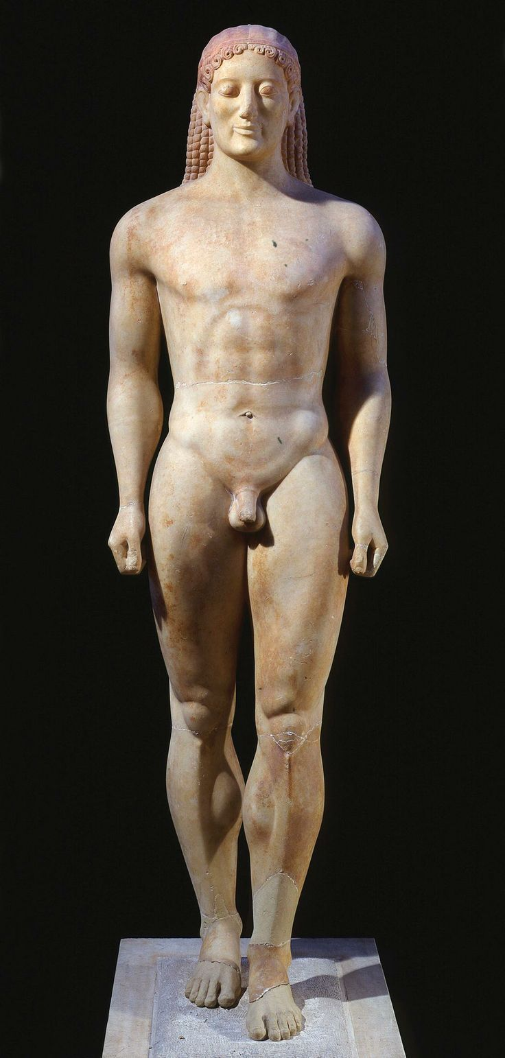 27. Anavysos Kouros. Archaic Greek. c. 530 B.C.E. Marble with remnants of paint. (Image set)