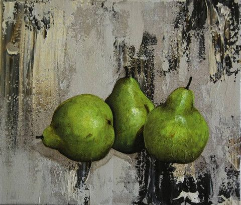 """""""Three Pears on Linen"""" by Felicia Aroney"""
