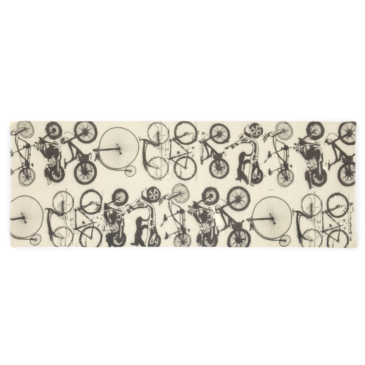 Featuring everything from Penny-farthings to racer bikes, this witty print will be your go-to accessory this winter. Designed in understated, neutral tones, it's the perfect partner for boardroom basics or colourful off-duty wear.  (50% cotton / 50% bamboo, 70 x 200cm) #vernon #ss13 #mens #lilyandlionel
