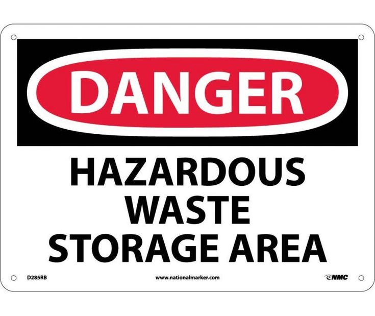 Danger, HAZARDOUS WASTE STORAGE AREA, 10X14, Rigid Plastic