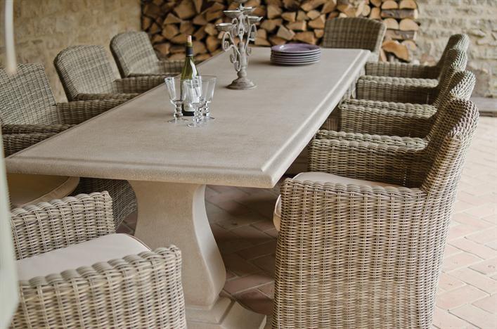 Neptunecom Garden Portland stone 280x95cm Table and pale