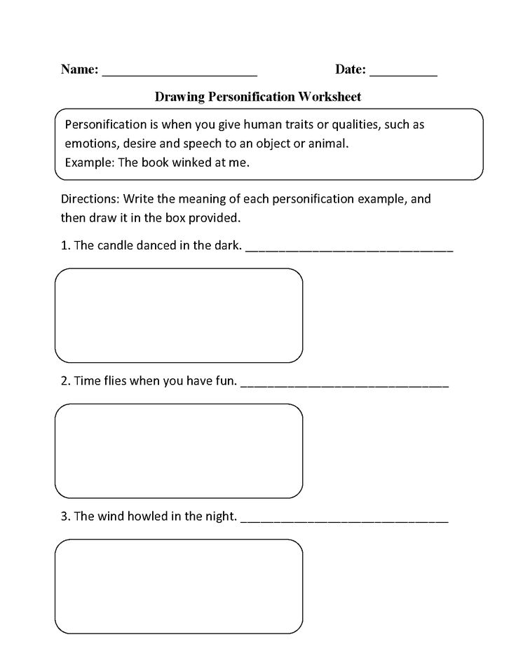Printable Worksheets worksheets for personification : Drawing Personifcation Worksheet | abby | Pinterest | Figurative ...