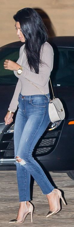 Kourtney Kardashian: Shirt – Naked Wardrobe  Shoes – Gianvito Rossi  Sunglasses – Westward Leaning  Jeans – J Brand  Purse – Chloe