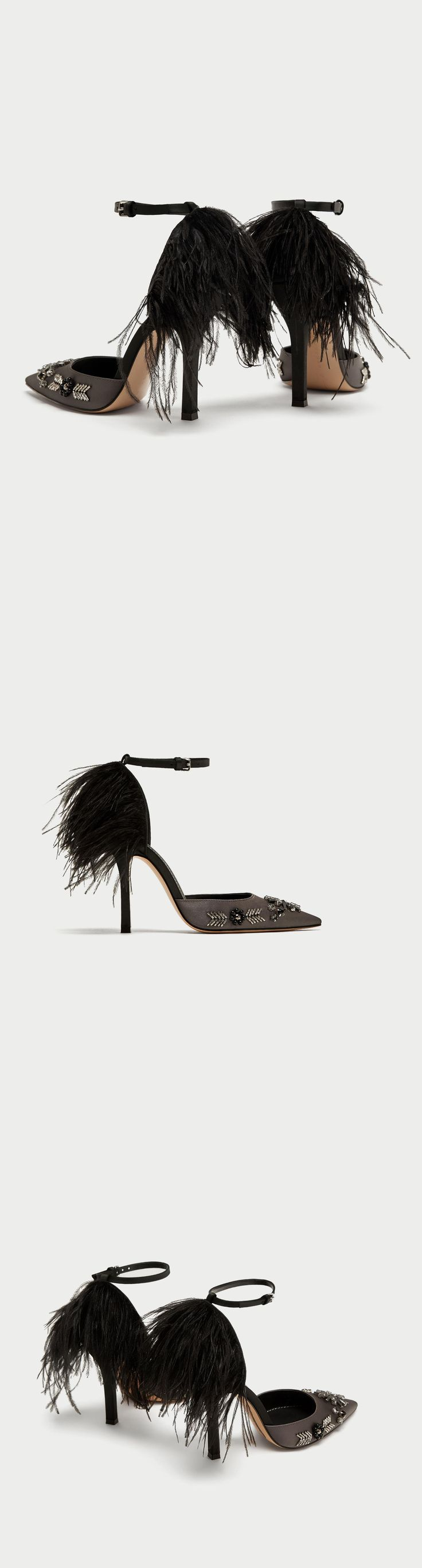 Court Shoes With Embroidered Feathers // 139.00 USD // Zara // Lead grey high heel court shoes with feathers detail on the heel, beads on the front, satin upper and pointed toes. Heel height of 10 cm. / 3.9″