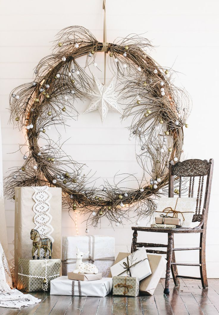 Christmas wreath made from palm fronds