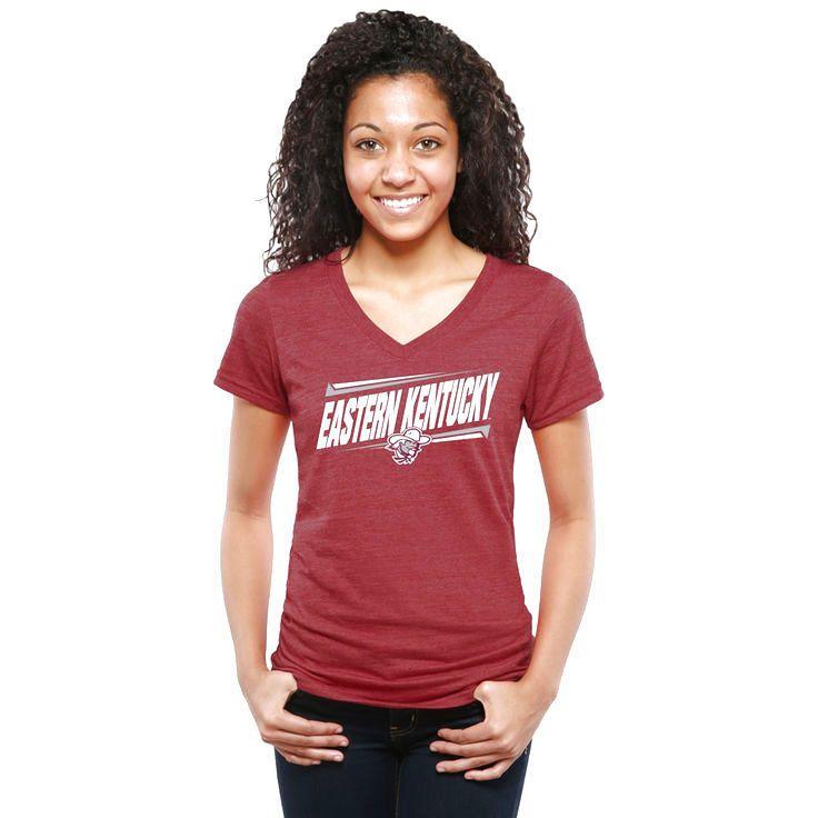 Eastern Kentucky Colonels Women's Double Bar Tri-Blend V-Neck T-Shirt - Maroon - $24.99