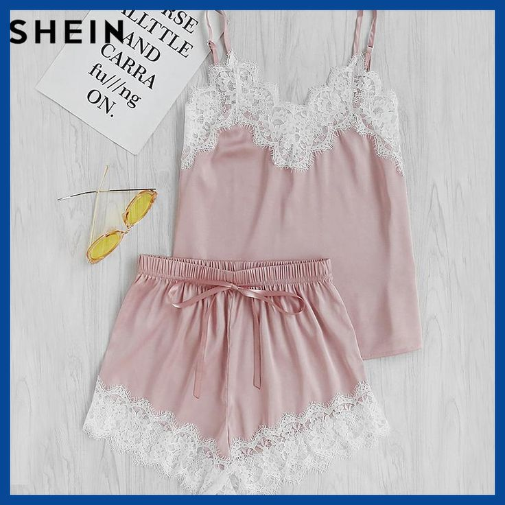 SHEIN Women Sleeping Wear Summer Sexy Pajama Sets Lace Trim Satin Spaghetti Strap Cami Top and Shorts Pajama Set