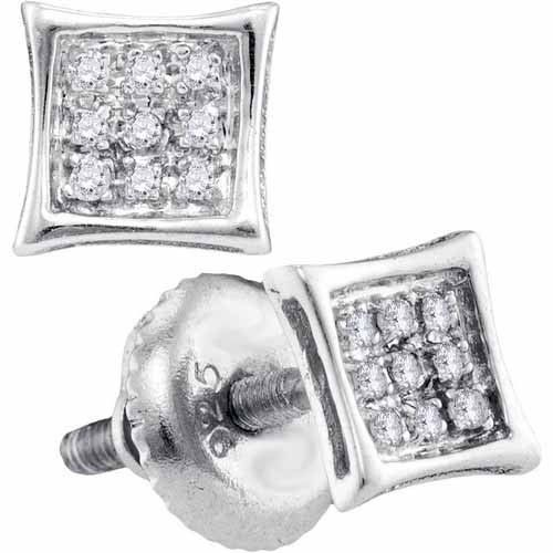 This beautiful pair of earrings is micro-pave set with brilliant round diamonds weighing .05 Carats total. The diamonds are an amazing white G-H color and I clarity.