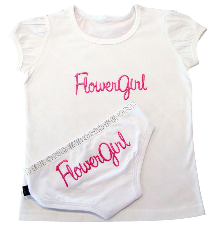 Flower Girl Tee and Underwear SET of 2.  Make the Flower Girl feel super special.  Sets of tees and briefs with pretty embroidered text. www.miemporium.com.au