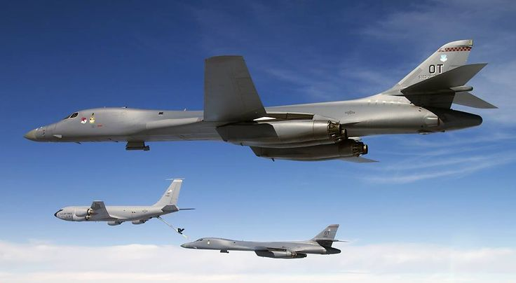 Rockwell B-1B Lancer aka 'Bone' (B-One).B-1 is one of the heaviest supersonic bomber in service today, and has the highest payload carrying capacity among heavy bombers.B-1B is powered by 4 General Electric F-101-GE-102 engines; each give 77.4kN dry & 136.9kN wet thrust thus produce a combined thrust of 309.6kN dry & 547.6kN wet thrust,