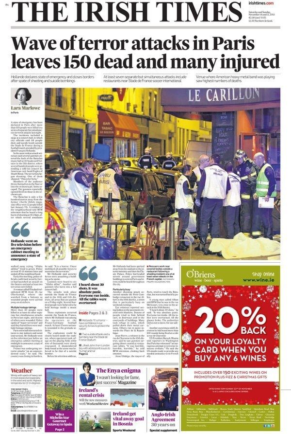 The Irish Times (Ireland) | Front Pages Of The World's Newspapers Mourn The Paris Attacks