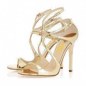 5974c7cad8b7 Gold Strappy Sandals 5 Inches Stiletto Heels Prom Shoes  Stilettoheels   Promheels  Promshoes